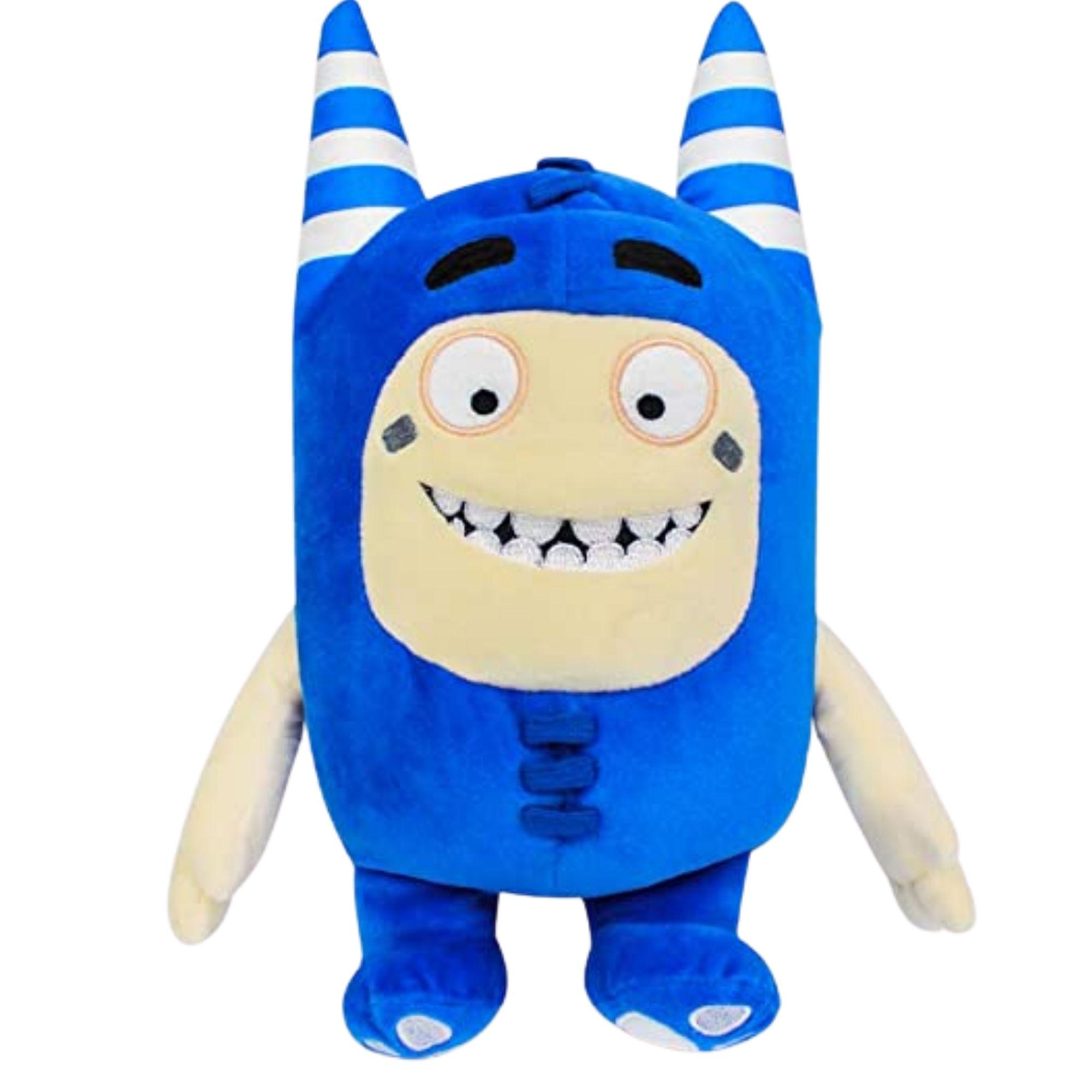 Kit com 2 Bonecos de Pelúcia Oddbods - 1 Amarelo e 1 Azul - Pogo e Bubbles  - Game Land Brinquedos