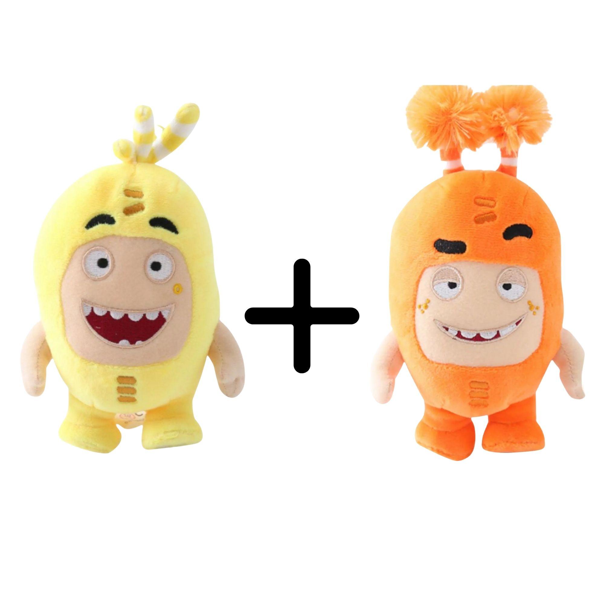 Kit com 2 Bonecos de Pelúcia Oddbods - 1 Amarelo e 1 Laranja   - Game Land Brinquedos