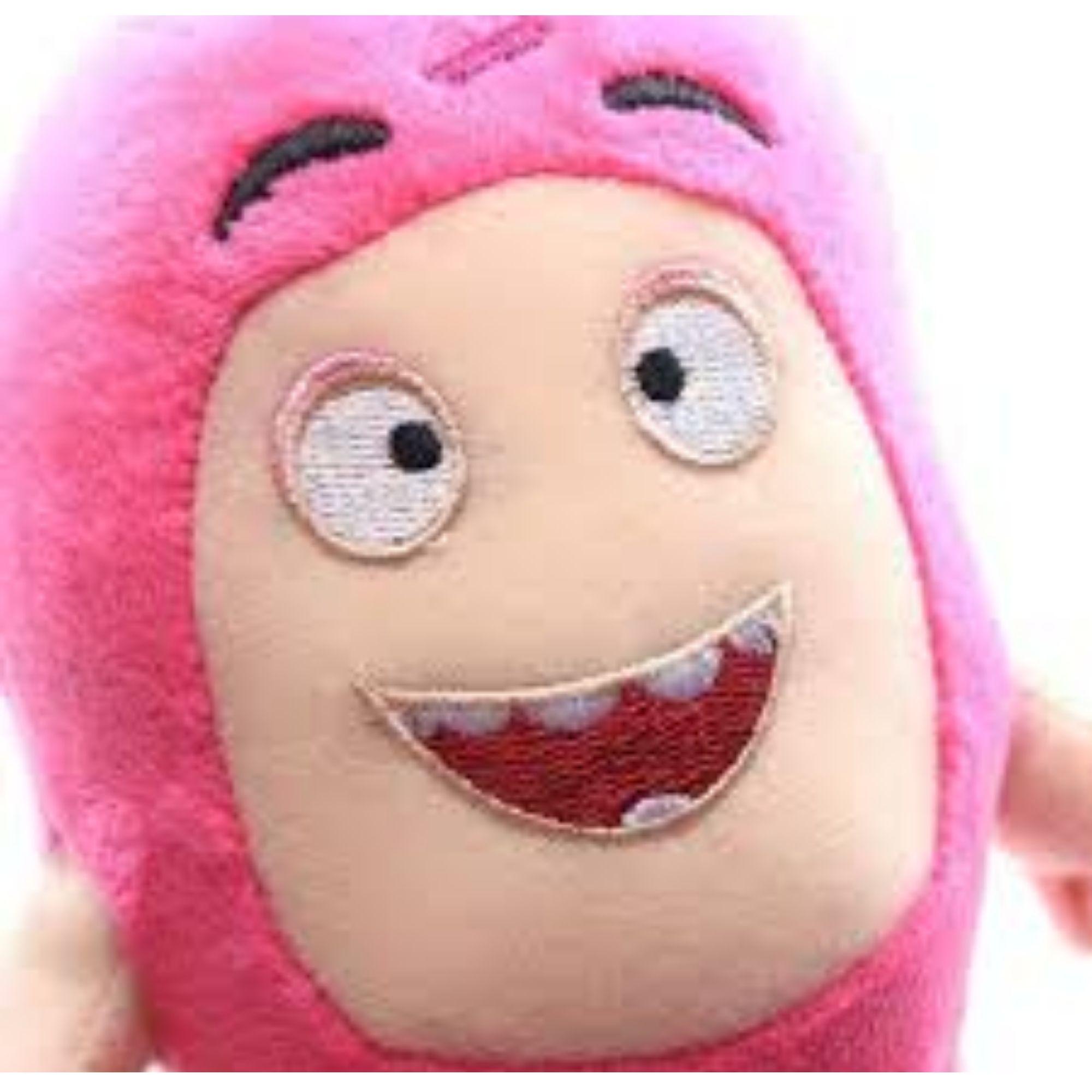Kit com 2 Bonecos de Pelúcia Oddbods - 1 Amarelo e 1 Rosa - Bubbles e Newt  - Game Land Brinquedos