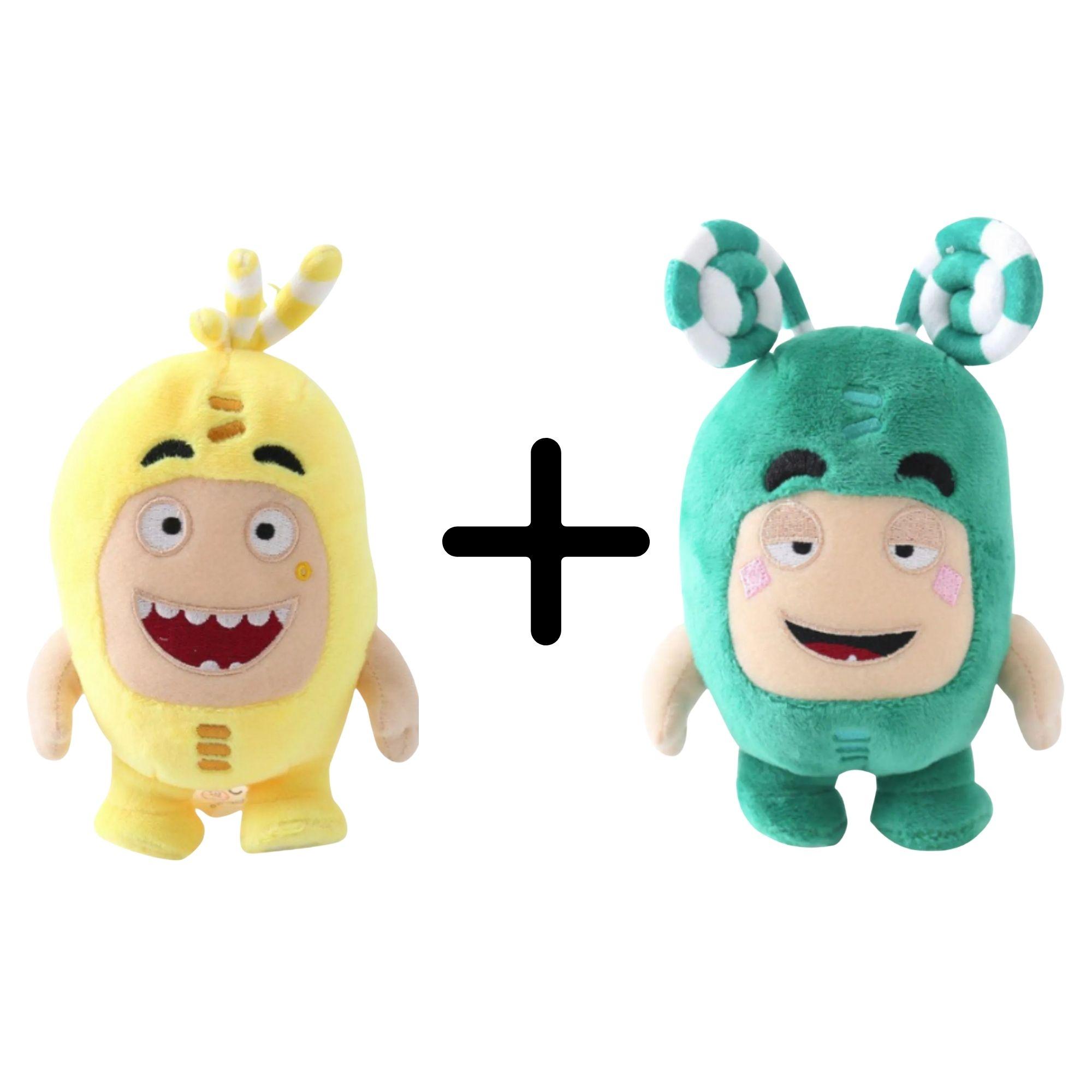 Kit com 2 Bonecos de Pelúcia Oddbods - 1 Amarelo e 1 Verde - Bubbles e Zee  - Game Land Brinquedos