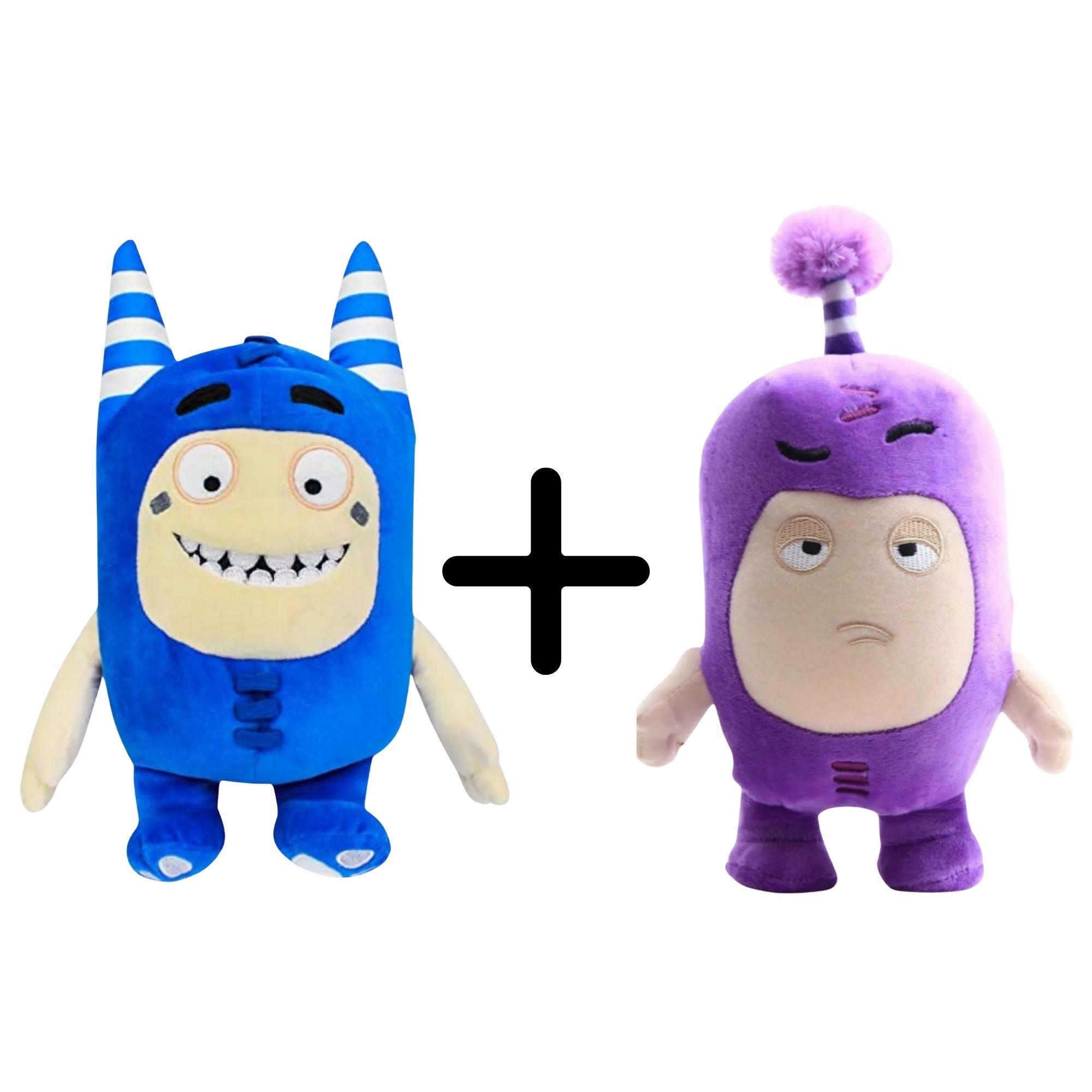 Kit com 2 Bonecos de Pelúcia Oddbods - 1 Azul e 1 Roxo - Pogo e Jeff  - Game Land Brinquedos