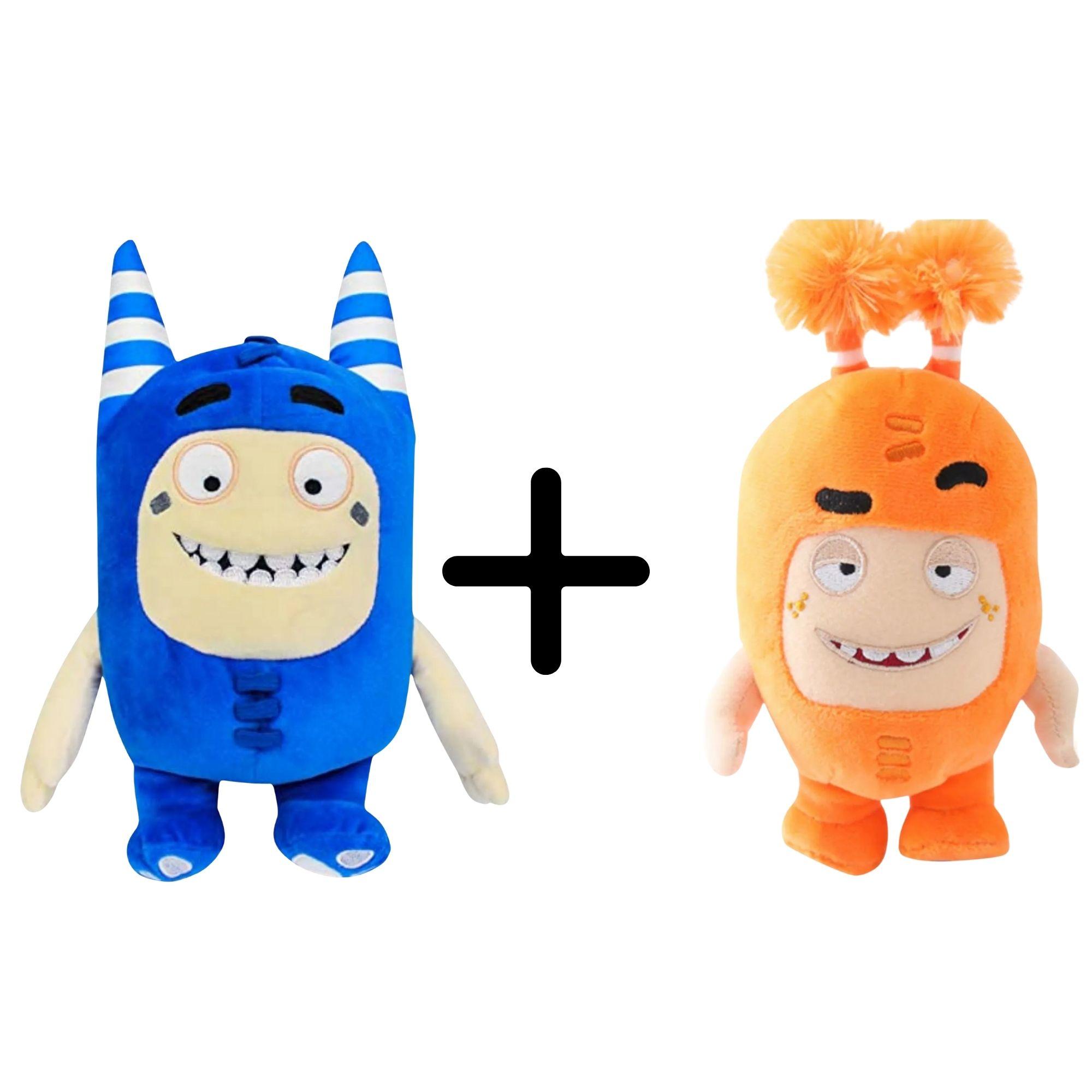 Kit com 2 Bonecos de Pelúcia Oddbods - 1 Laranja e 1 Azul - Slick e Pogo  - Game Land Brinquedos