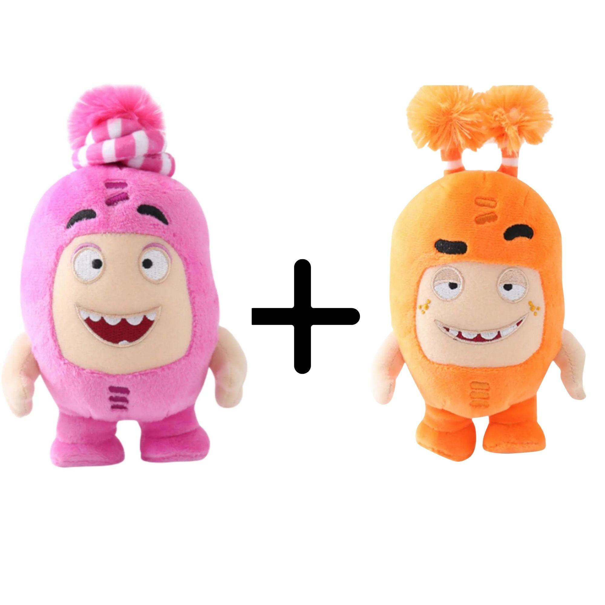 Kit com 2 Bonecos de Pelúcia Oddbods - 1 Laranja e 1 Rosa  - Game Land Brinquedos