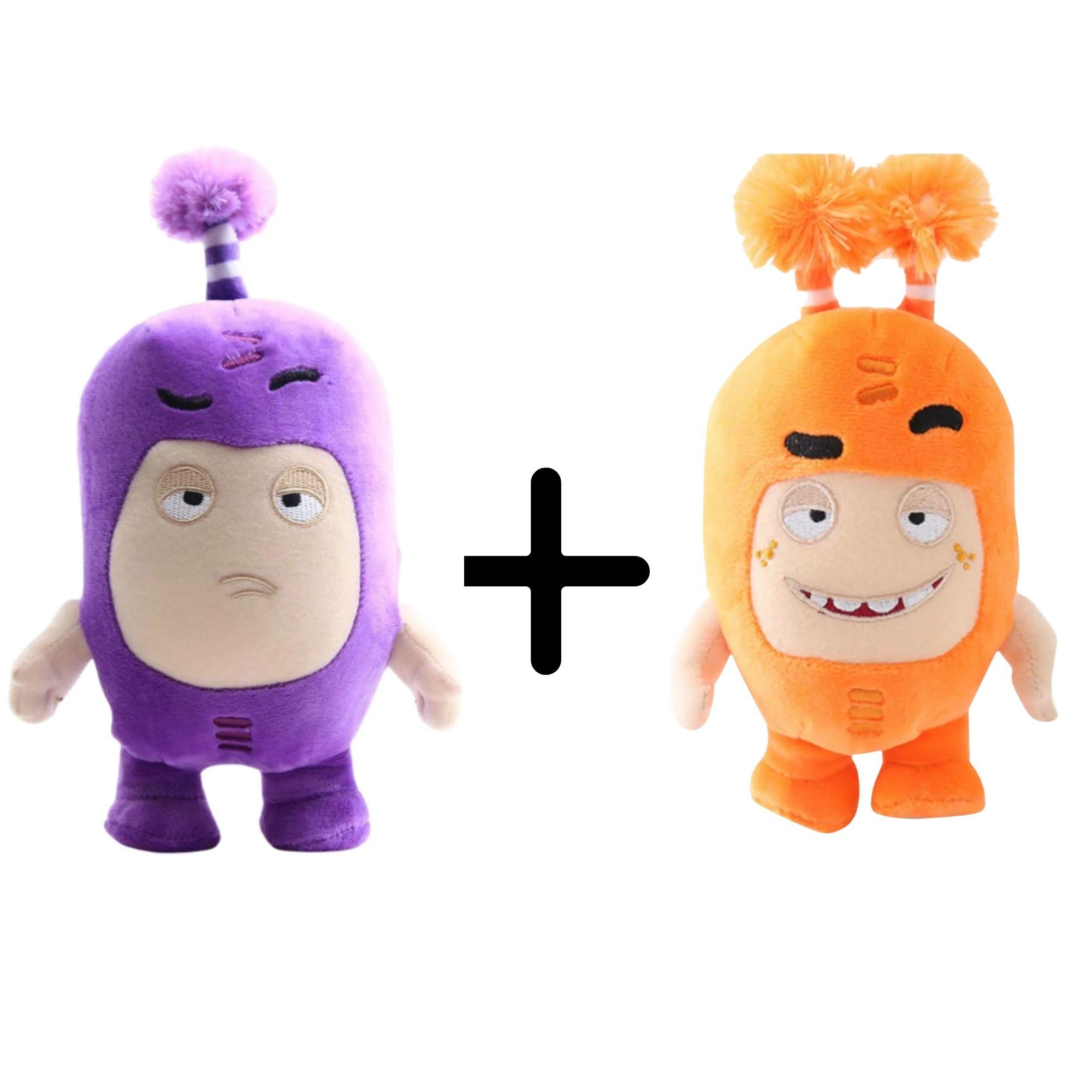 Kit com 2 Bonecos de Pelúcia Oddbods - 1 Laranja e 1 Roxo  - Game Land Brinquedos