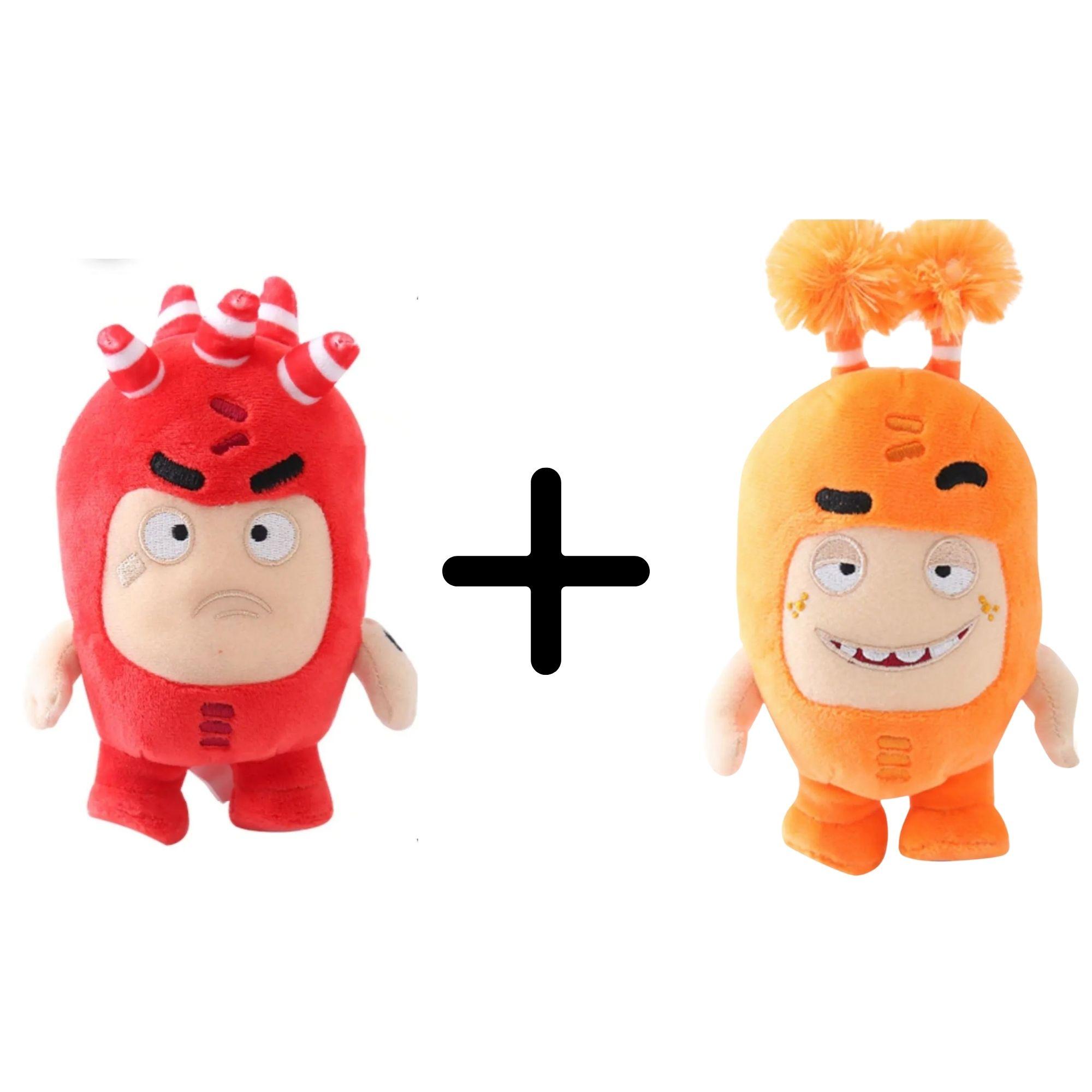 Kit com 2 Bonecos de Pelúcia Oddbods - 1 Laranja e 1 Vermelho  - Game Land Brinquedos