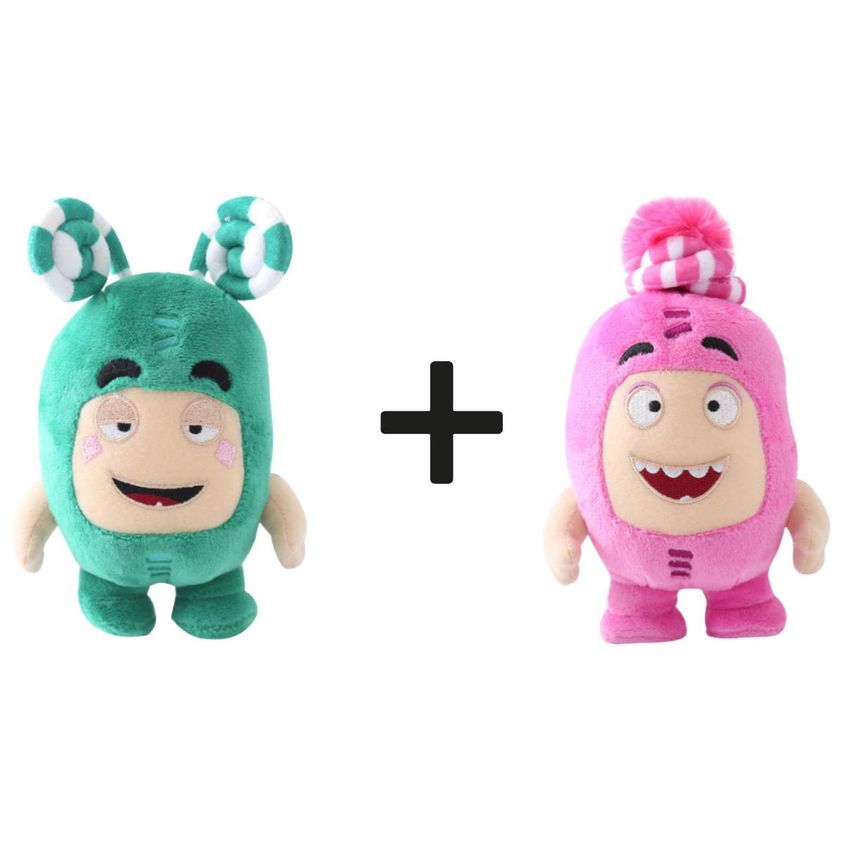 Kit com 2 Bonecos de Pelúcia Oddbods - 1 Verde e 1 Rosa  - Game Land Brinquedos