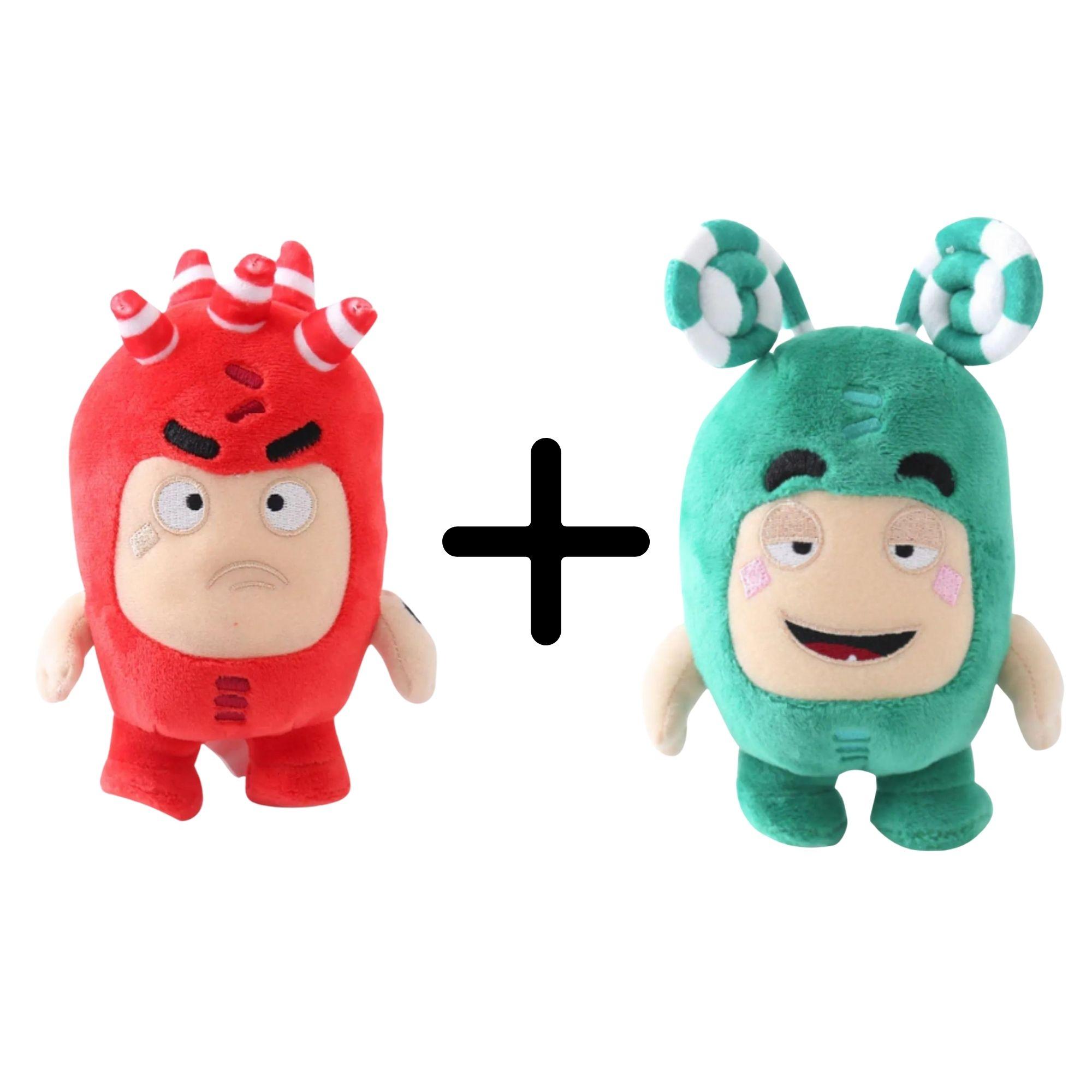 Kit com 2 Bonecos de Pelúcia Oddbods - 1 Verde e 1 Vermelho Zee e Fuse  - Game Land Brinquedos