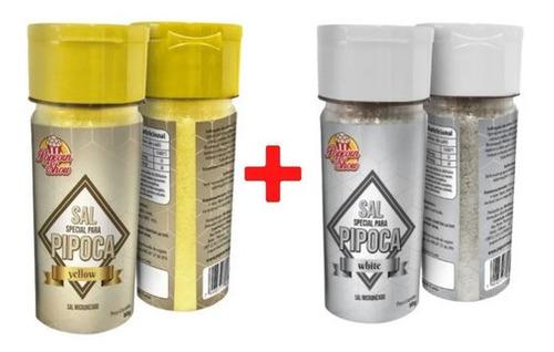 Kit Com 2 Sal Micronizado Para Pipoca 1 Amarelo E 1 Branco  - Game Land Brinquedos
