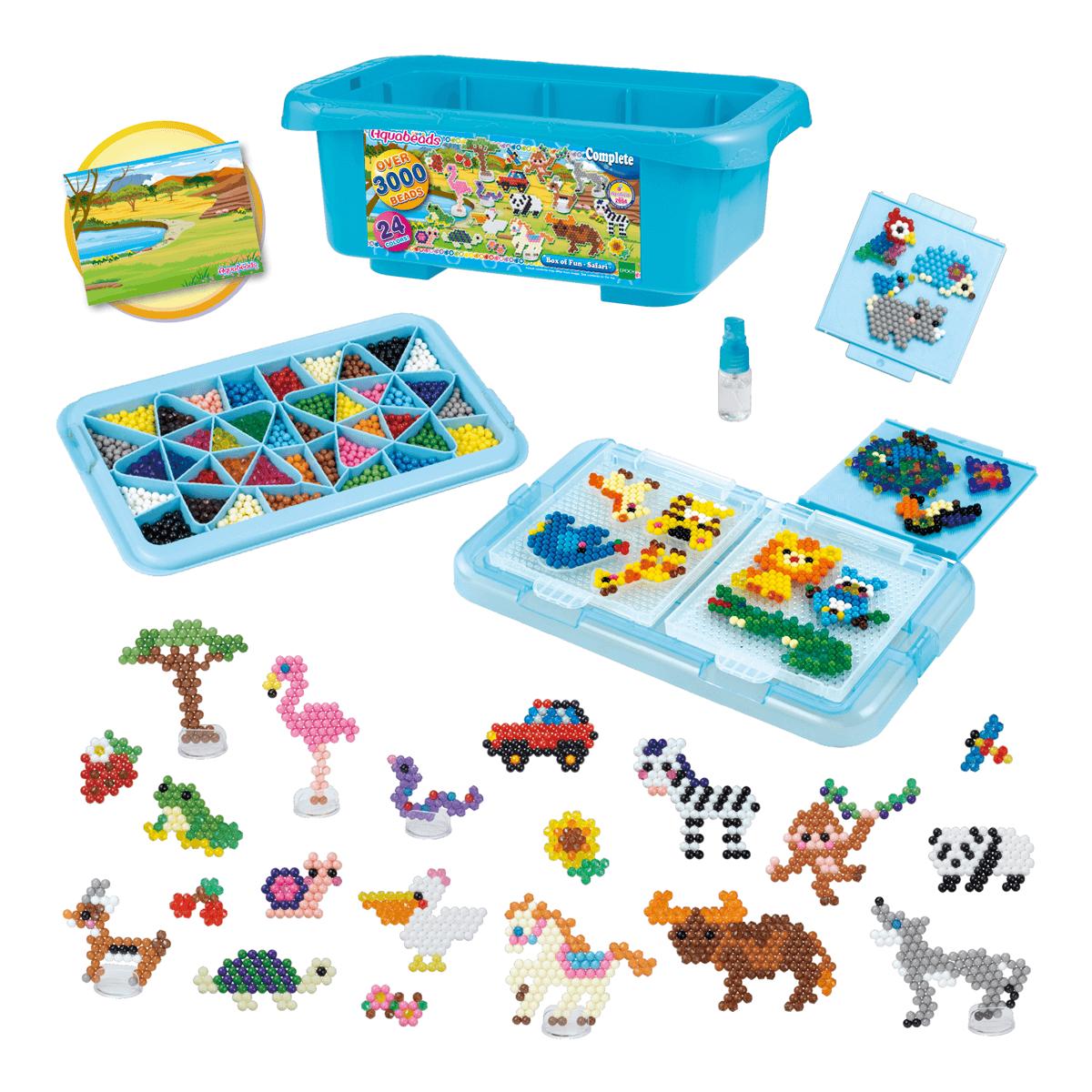 Kit Combo Aquabeads Caixa Safari + Conjunto Beads Brilhantes  - Game Land Brinquedos