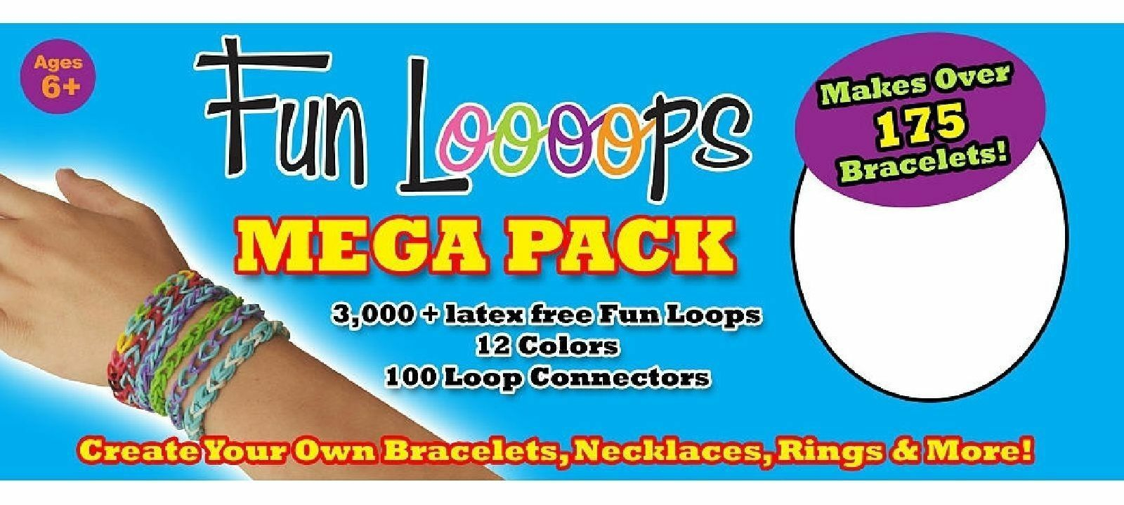 Kit infantil montagem de pulseiras Funloooops 3000 elásticos  - Game Land Brinquedos