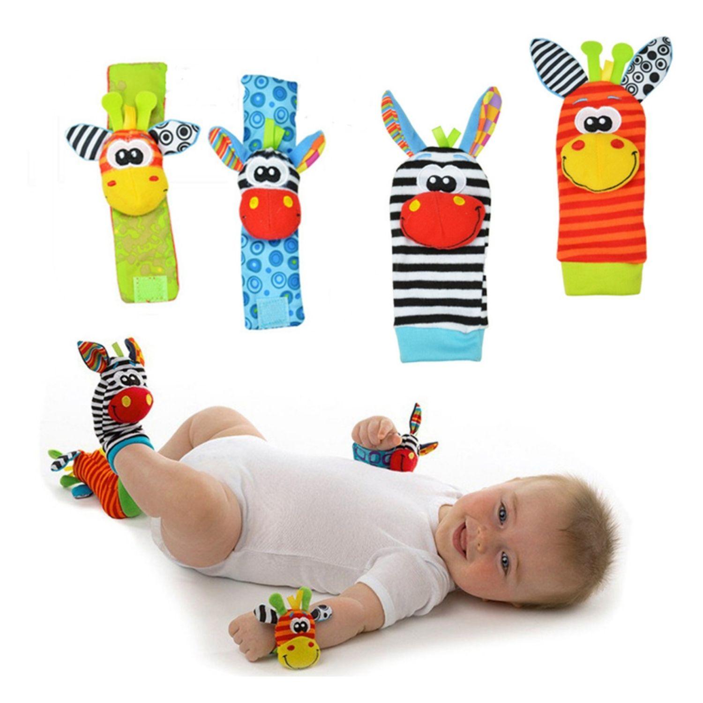 Kit Lamaze Bebê Meia e Pulseira Chocalho 4 peças Sozzy  - Game Land Brinquedos