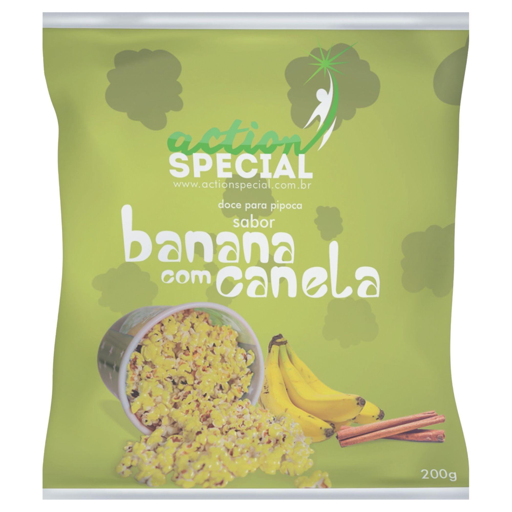 Mistura para pipoca doce gourmet Sabor Banana com Canela 1kg  - Game Land Brinquedos