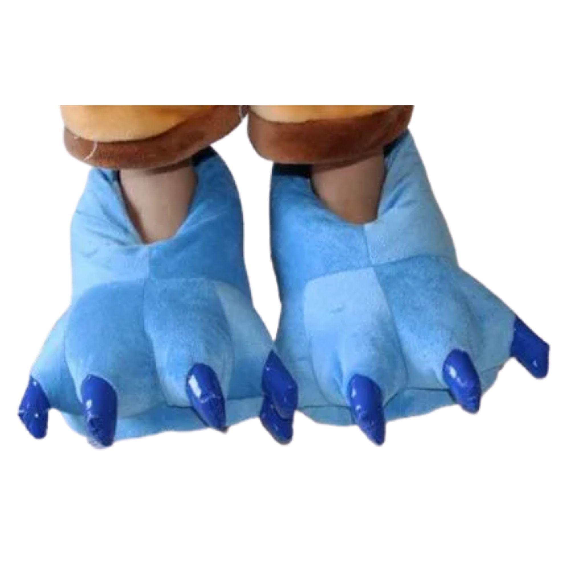 Pantufa Pata Stitch Lilo Azul Confortável  - Game Land Brinquedos