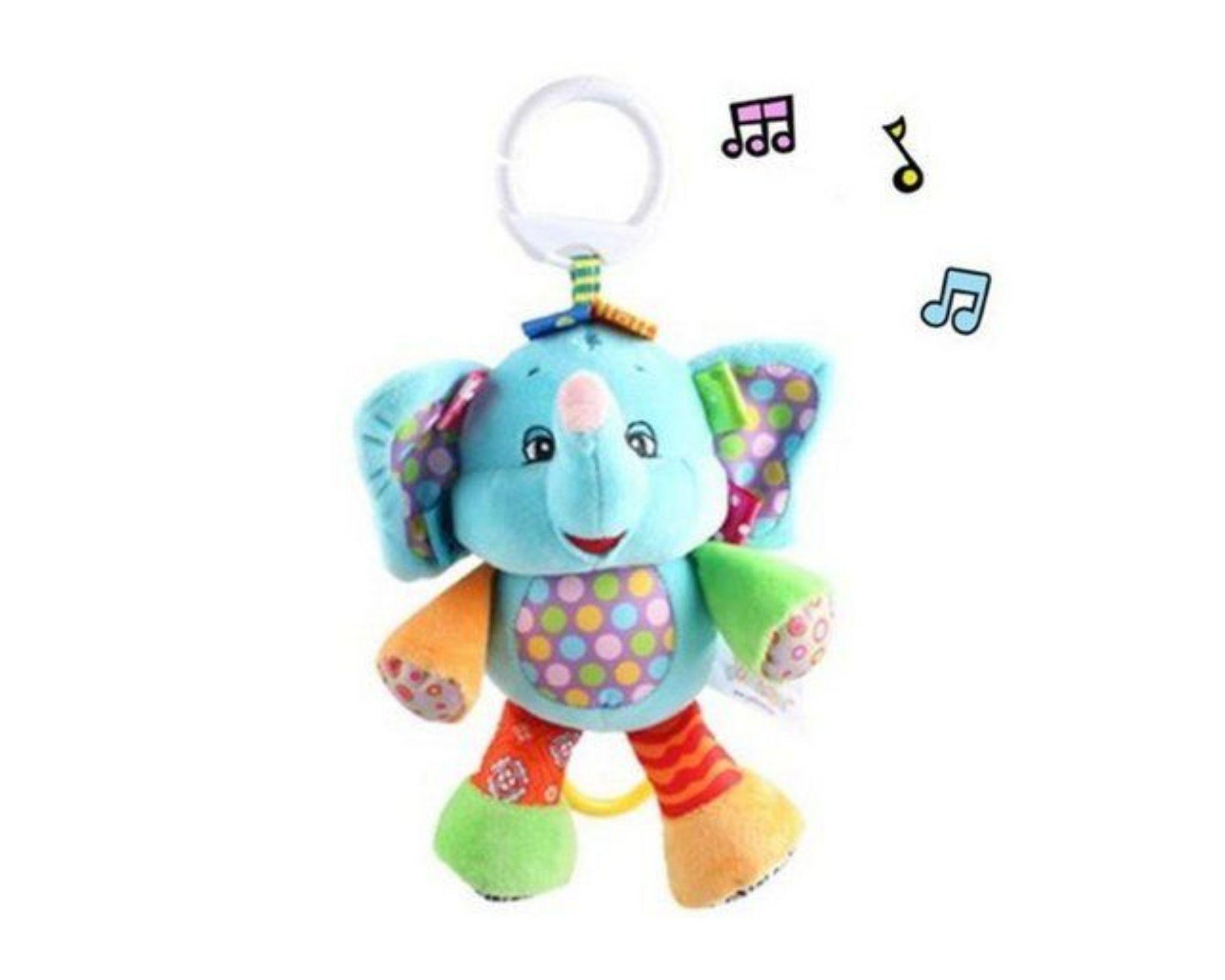 Pelucia Musical Chocalho Elefante para bebê Interativo    - Game Land Brinquedos