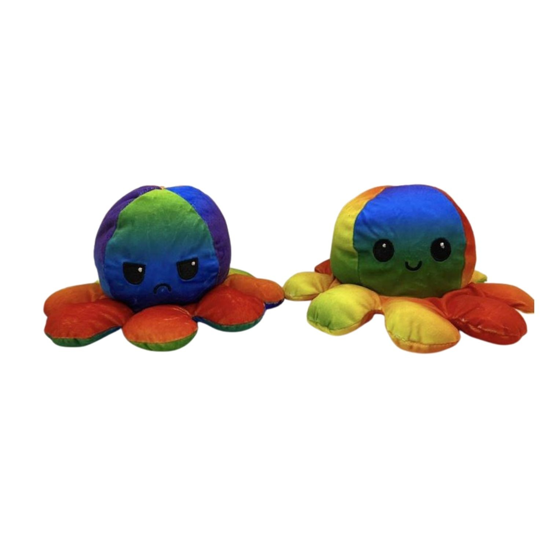 Polvo De Pelúcia Reversível Duplo Humor Alegre Bravo Flip Flop Arco Iris  - Game Land Brinquedos
