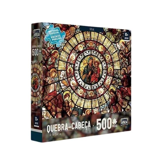 Quebra Cabeça 500 peças Vitral - Arte Sacra Toyster  - Game Land Brinquedos