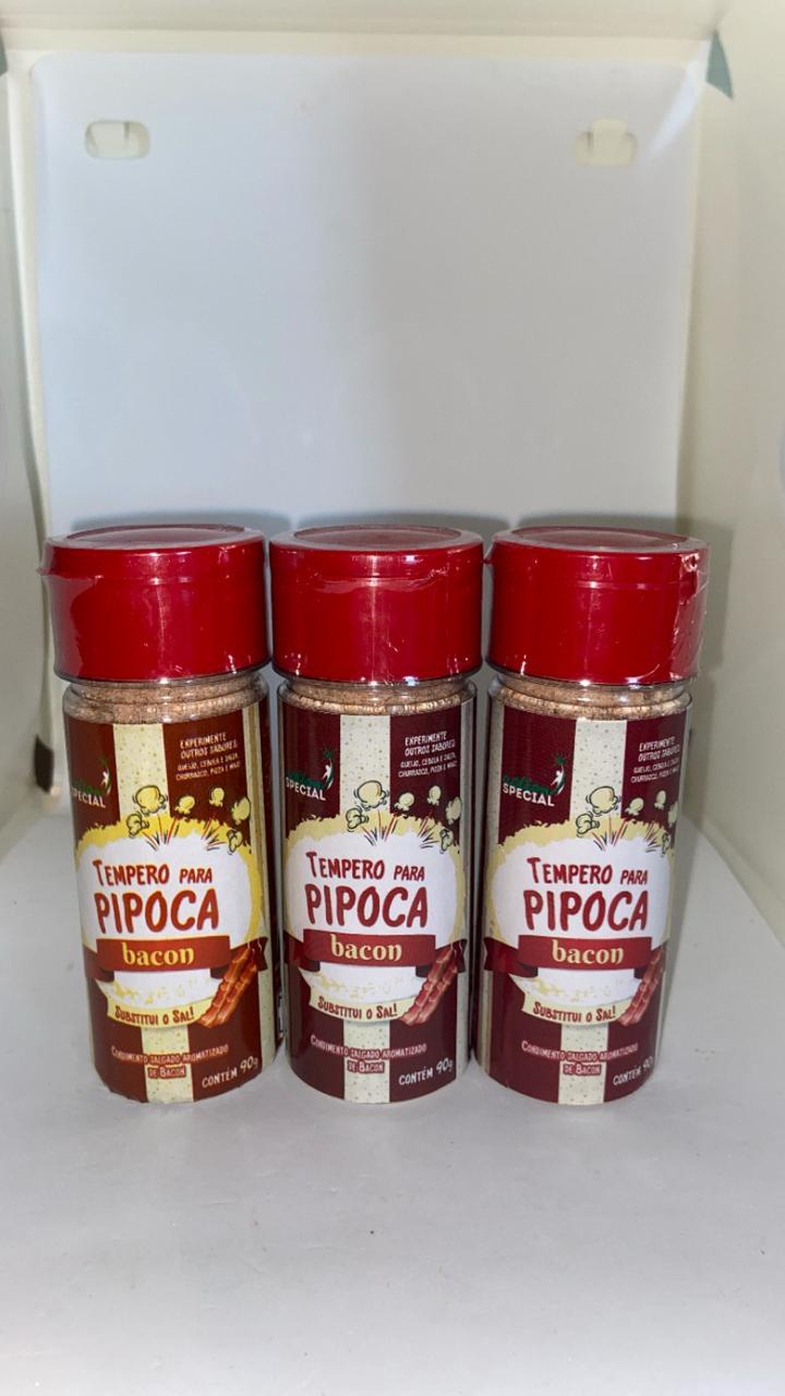 Tempero Pipoca Gourmet Salgada Sabor Bacon 3 unid.  90 gr.  - Game Land Brinquedos