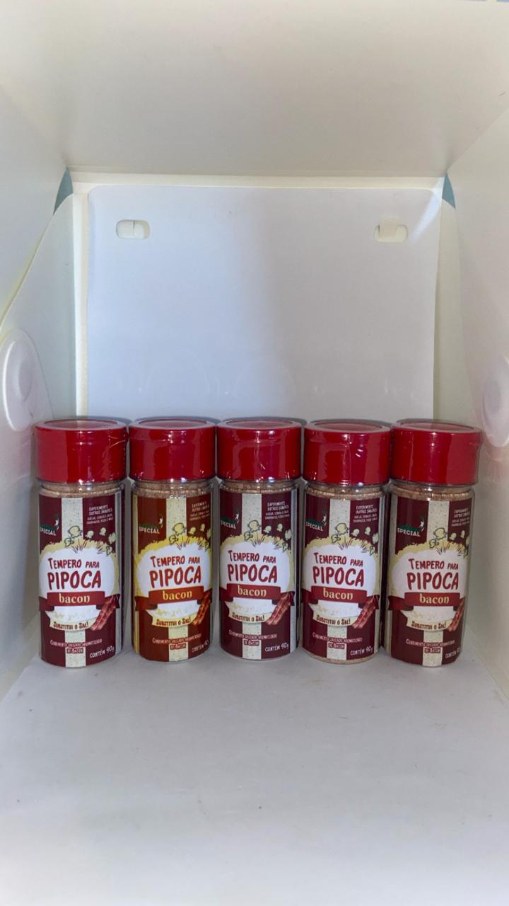 Tempero Pipoca Gourmet Salgada - Sabor Bacon - 5 unid.  90 gr.  - Game Land Brinquedos