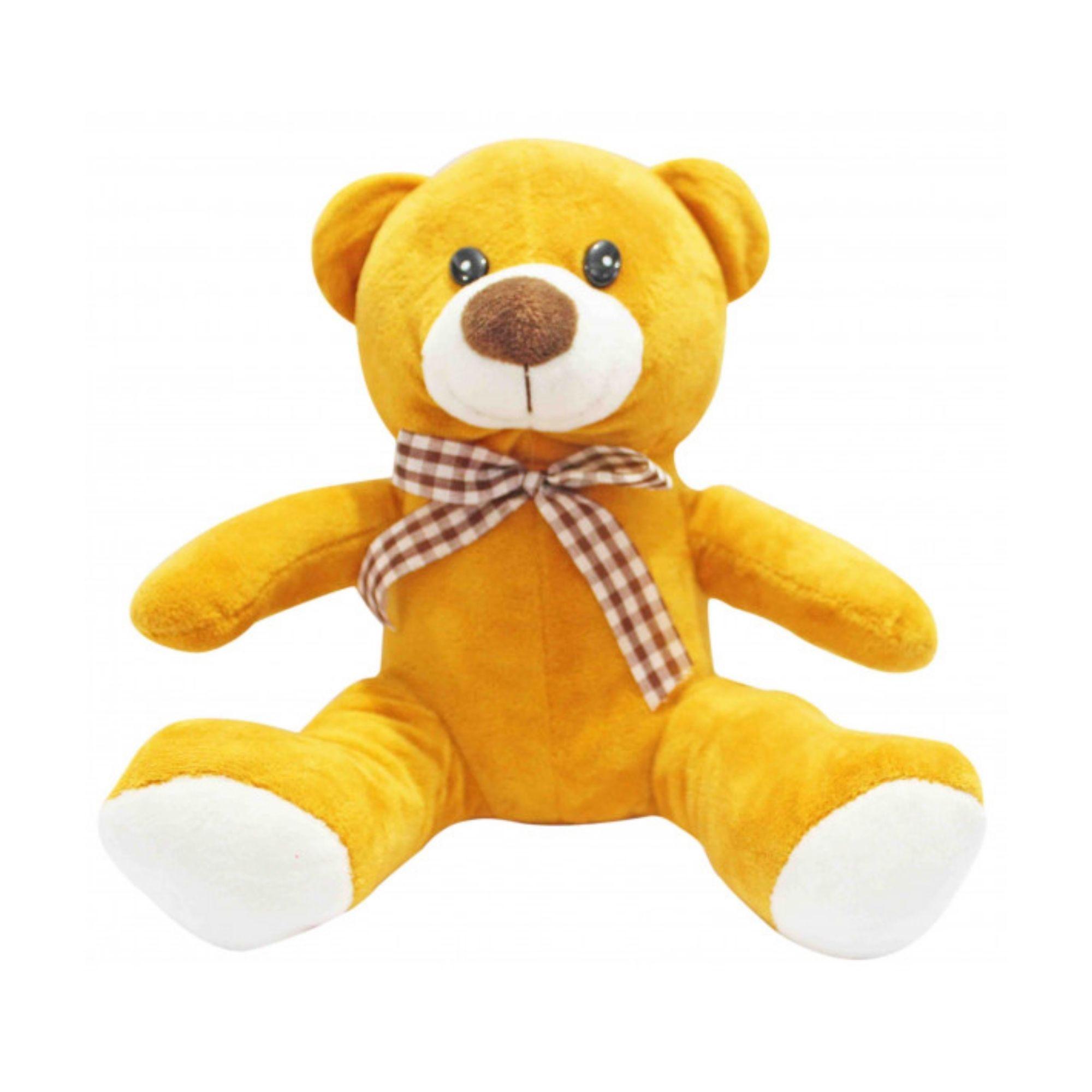 Urso de Pelucia Caramelo com Laço Xadrez  - Game Land Brinquedos