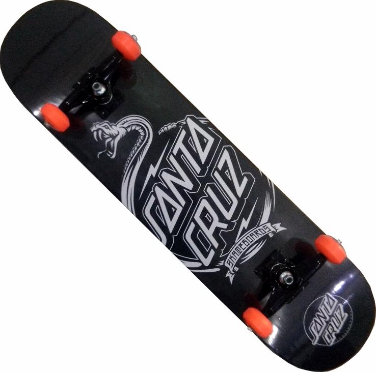 Skate Santa Cruz Montado Completo Snake/Moska/Abec 11 Preto