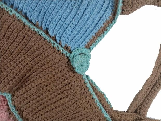 Bolsa em Crochê Marrom/Azul/Marinho Escuro