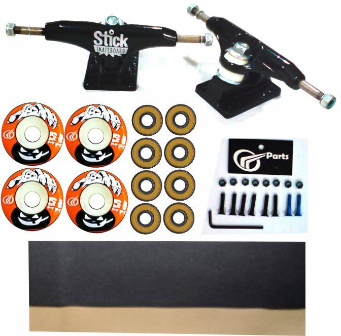 Kit Truck Skate 129mm + Rodas 51+ Rolamento Abec 13 + Lixa Emborrachada + Parafusos