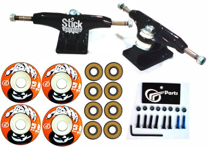 Kit Truck Skate 129mm + Rodas 51+ Rolamento Abec 13 + Parafusos