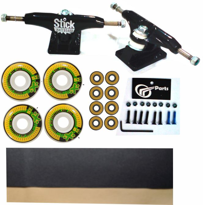 Kit Truck Skate 129mm + Rodas 53+ Rolamento Abec 13 + Lixa Emborrachada + Parafusos