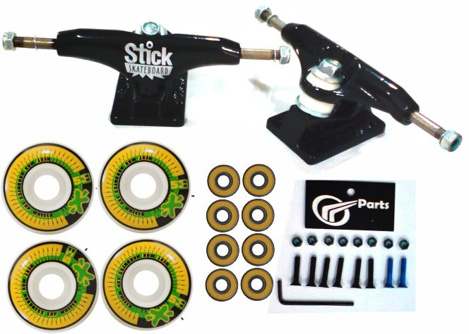 Kit Truck Skate 129mm + Rodas 53+ Rolamento Abec 13 + Parafusos