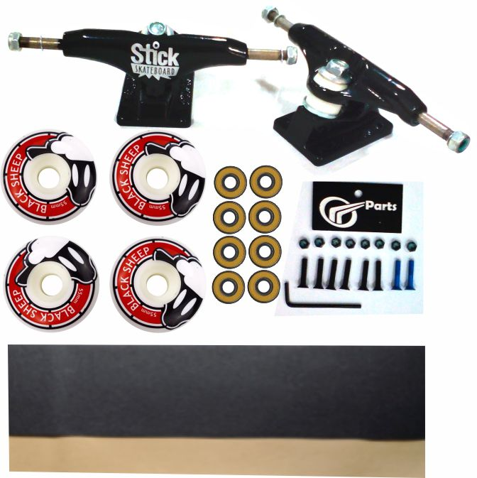 Kit Truck Skate 129mm + Rodas 55+ Rolamento Abec 13 + Lixa Emborrachada + Parafusos