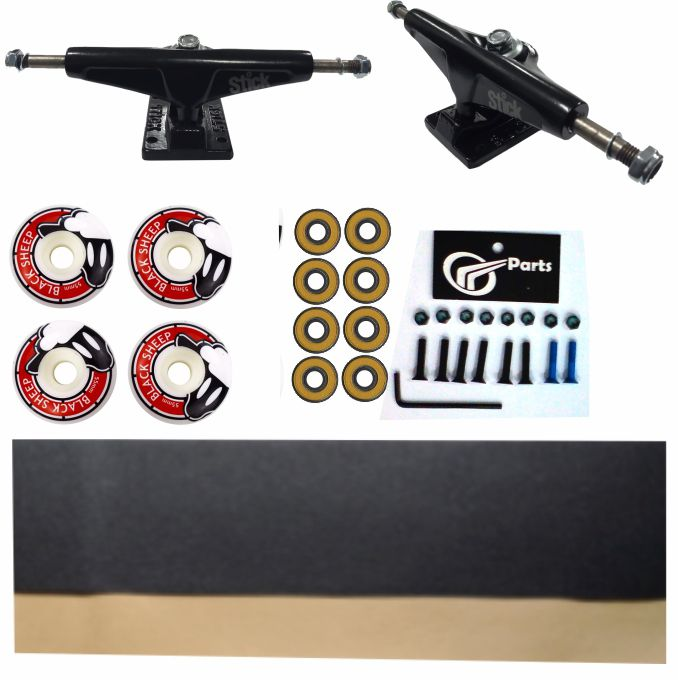 Kit Truck Skate 139mm + Rodas 55+ Rolamento Abec 13 + Lixa Emborrachada + Parafusos