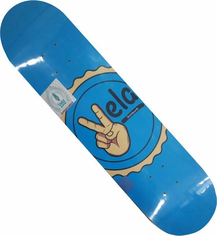 Shape Vela Marfim para skate Mão Azul