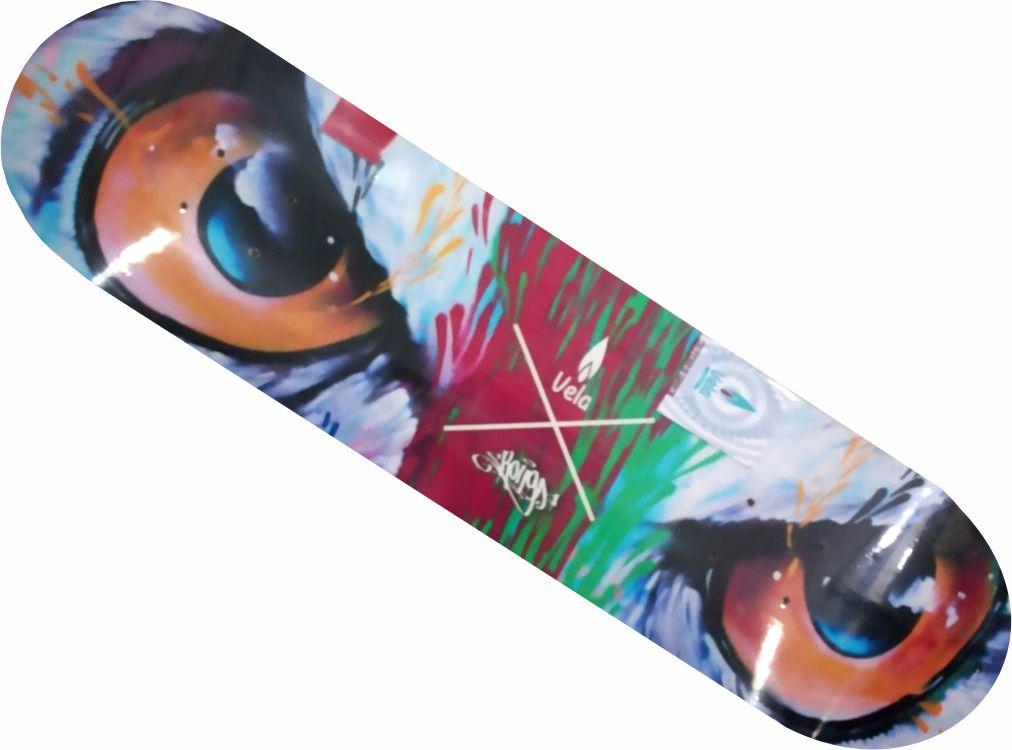 Shape Vela Marfim para skate olho colorido
