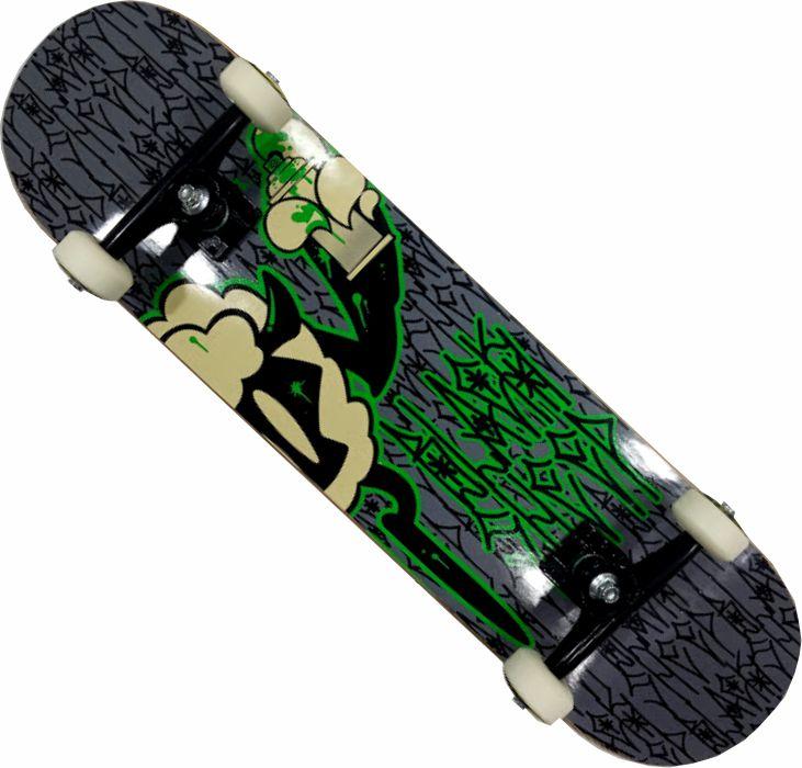 Skate Black Sheep Montado Completo Profissional Next Stick Abec 11 Preto/Verde