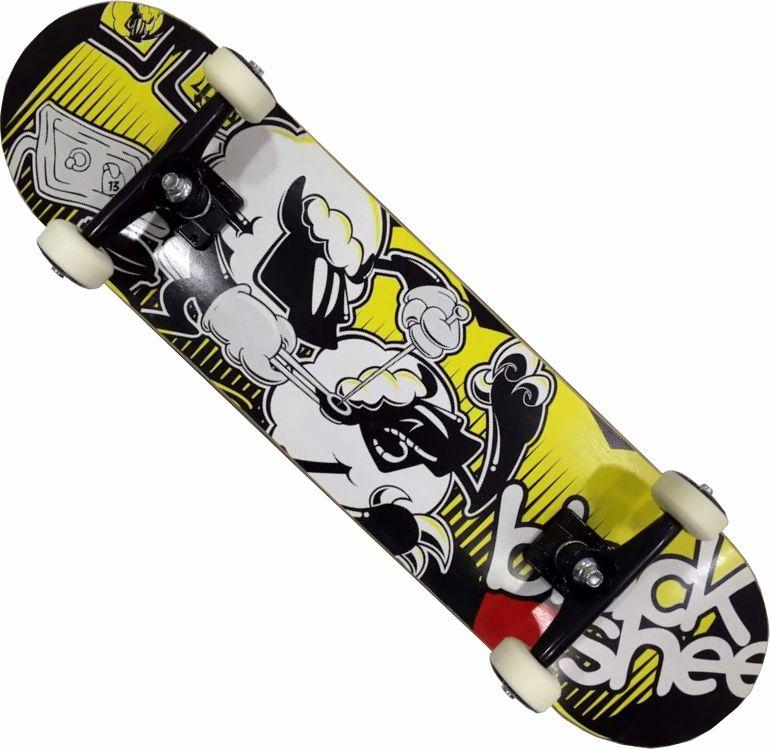 Skate Black Sheep Montado Completo Profissional Stick Abec 15 Amarelo