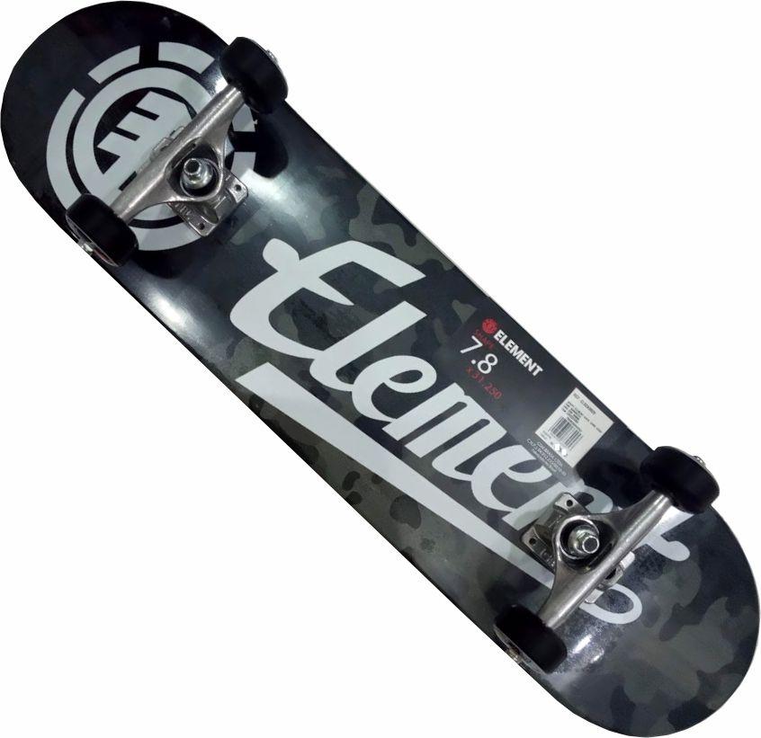 Skate Element Montado Completo Bark Camo Script Moska Metallum Gesso Camuflado