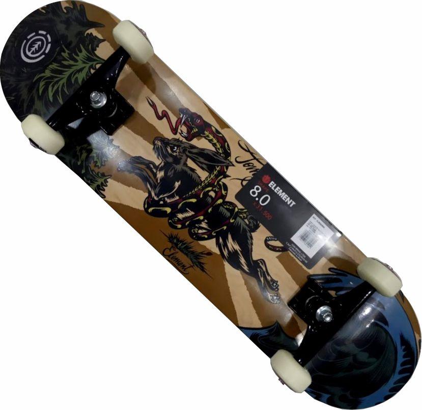 Skate Element Montado Completo Profissional 8chaar Stick Abec 13 Marrom/Azul