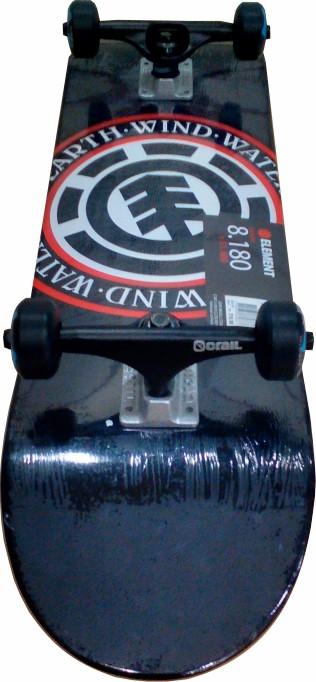 Skate Element Montado Completo Seal Crail Moska Kolami Preto/Vermelho
