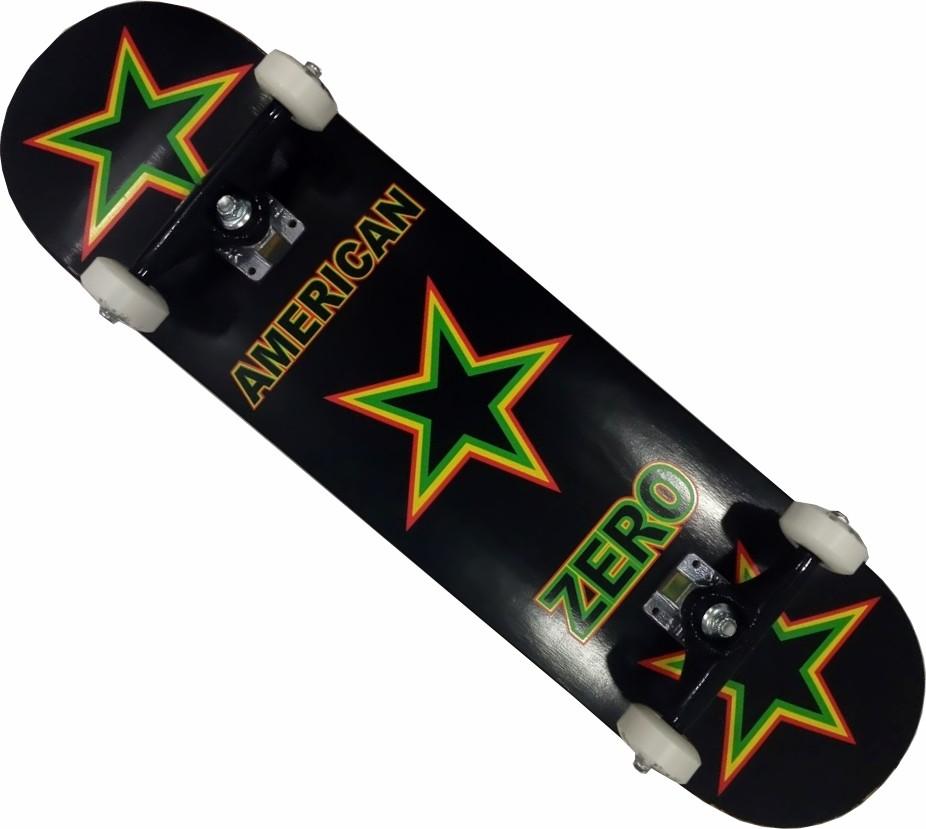 Skate Maple Zero Montado Completo Profissional Next Stick Kolami Preto