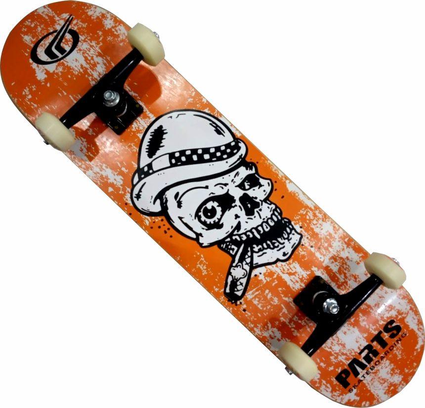 Skate montado completo 2 skt sendo 1 preto e 1 laranja