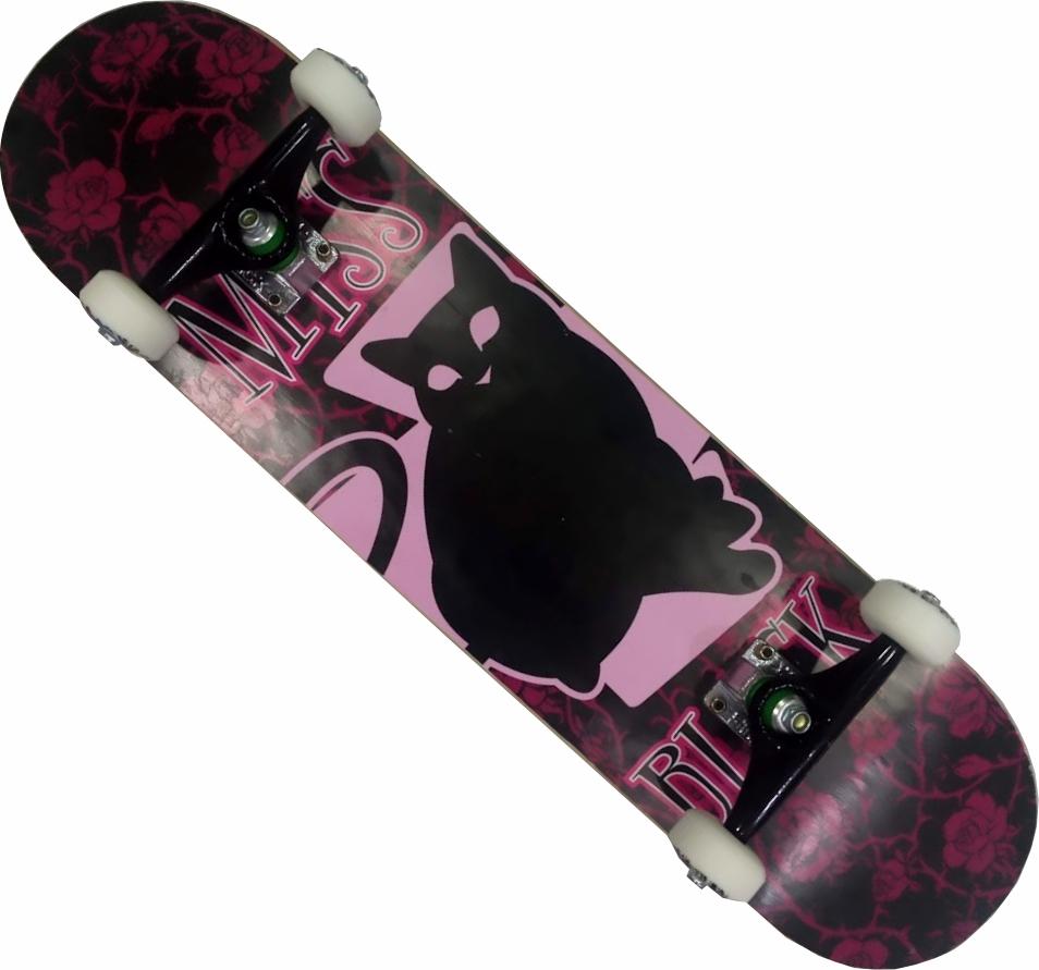 Skate Montado Completo Miss Black Pro A Next Stick BS Preto/Rosa