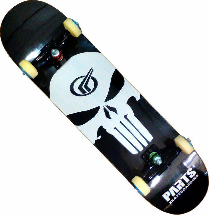 Skate Montado Completo Profissional -Parts - ABEC 13 Preto e Branco