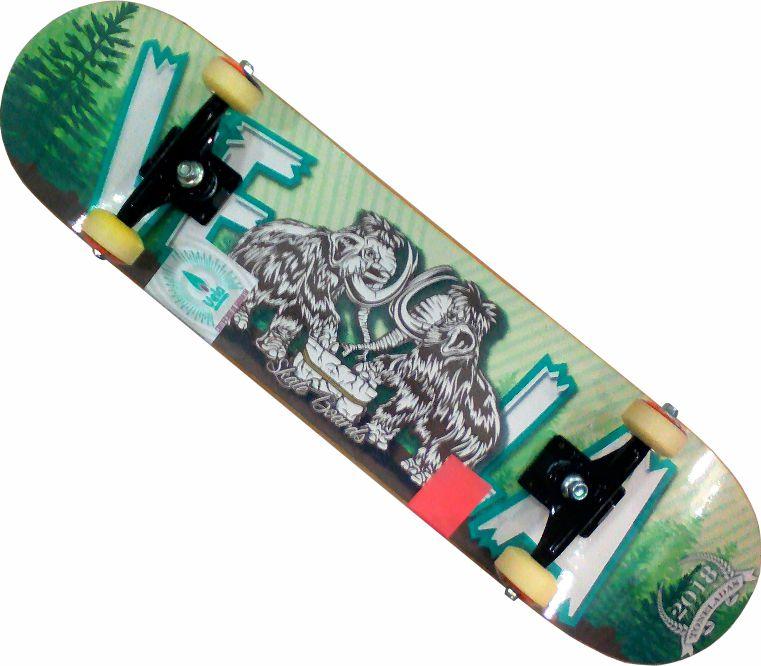 Skate Montado Completo Profissional Vela Parts ABEC 13 Verde e Branco