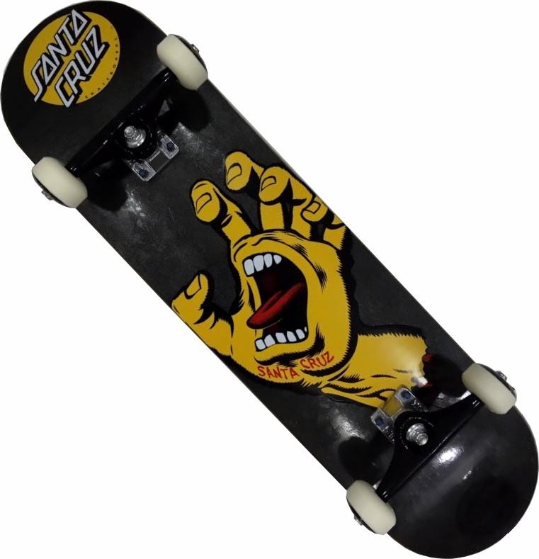 Skate Santa Cruz Montado Completo Hand BS Stick FCR Grafite Metalico