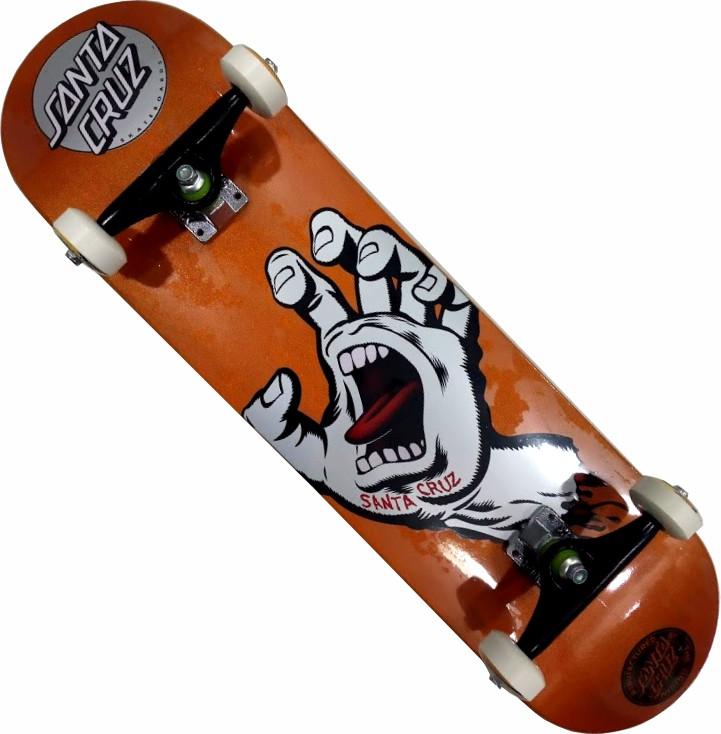 Skate Santa Cruz Montado Completo Hand Metalic Next Stick Black Sheep Visible Orange
