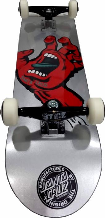Skate Santa Cruz Montado Completo Hand Metalic Next Stick FCR Prata/Metalico