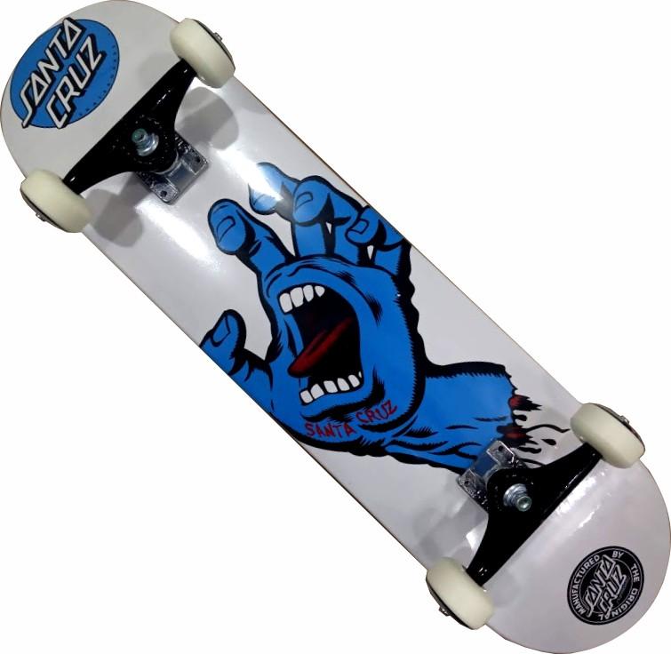 Skate Santa Cruz Montado Completo Hand Moska Stick Fcr Branco