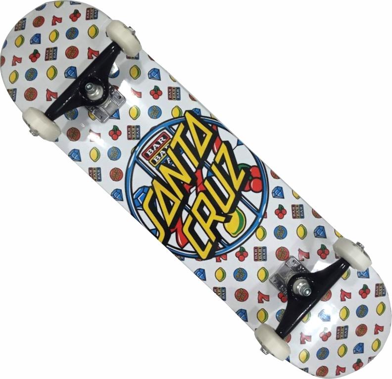 Skate Santa Cruz Montado Completo Jackpot Dot Next Stick Preto/Branco
