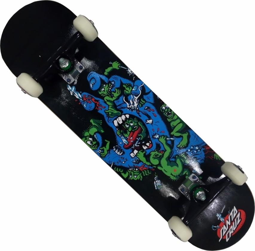 Skate Santa Cruz Montado Completo Profissional Greelin BS Stick FCR - Preto