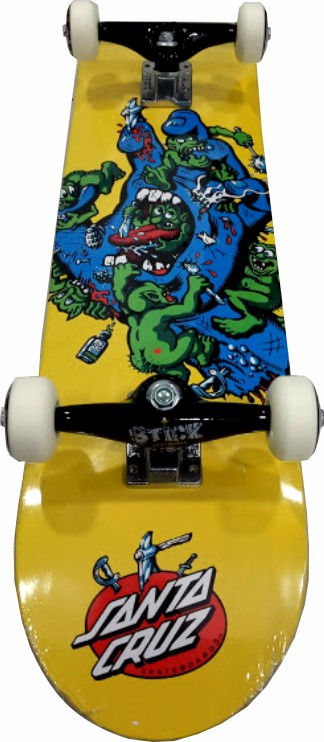 Skate Santa Cruz Montado Completo Profissional Gremlim Moska Stick Black Sheep Amarelo